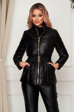 Fekete vízlepergető magas nyakú zsebes casual dzseki
