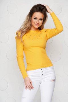 Sárga szűk szabású női blúz strassz köves díszítés csíkozott anyag
