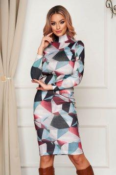 StarShinerS szürke hétköznapi magasnyakú szűk szabású midi ruha kötött anyagból
