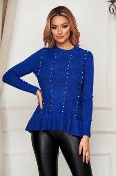 Kék casual bő szabású fodros kötött pulóver gyöngy díszítéssel