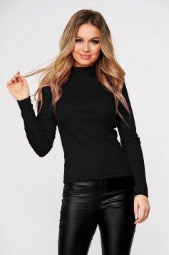 Fekete casual magasnyakú testhezálló bordázott anyagú női blúz enyhén elasztikus pamutból