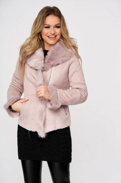 Világos rózsaszínű dzseki szintetikus fordított bőr felsőrész vékony bunda bélés műszőrme berakások