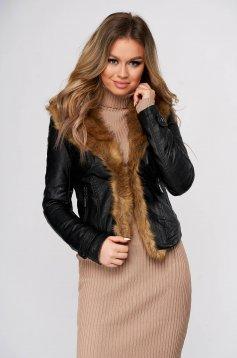 Fekete szőrme galléros zsebes műbőr dzseki vékony bunda béléssel és műszőrme berakásokkal