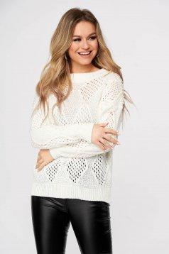 Fehér casual bő szabású kötött pulóver gyöngy díszítéssel