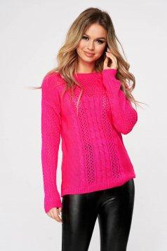 Pink casual bő szabású kötött pulóver csónak kivágással