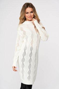 Fehér bő szabású hosszú kötött pulóver gyöngy díszítéssel