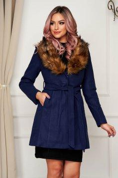 Kék szőrme galléros zsebes elegáns harang kabát gyapjúból