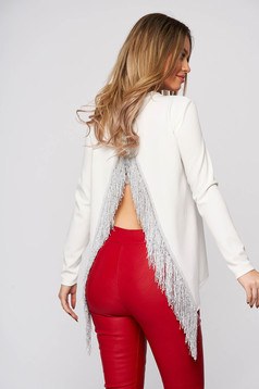StarShinerS fehér rojtos party női blúz kivágott hátrésszel