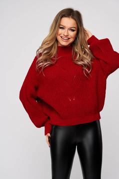 Piros bő ujjú bő szabású enyhén áttetsző anyag kötött pulóver