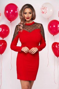 Piros alkalmi rövid ceruza ruha vékony anyag