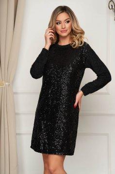 Fekete flitteres díszítéssel rövid party ruha rugalmas anyagból