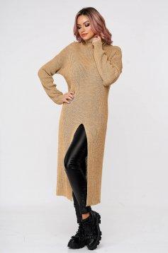Cappuccinobarna magas nyakú bő szabású casual pulóver kötött anyagból