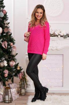 Bő szabású pink kötött pulóver csipke díszítéssel