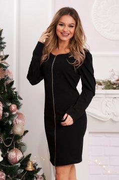 Fekete bő szabású rövid ruha enyhén rugalmas anyagból