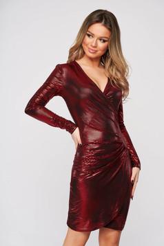 Piros ruha fémes színű átlapolt party ceruza rövid rugalmas anyagból