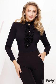 Fekete női ing alkalmi fodros bross kiegészítővel enyhén elasztikus pamut
