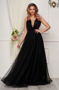 Fekete hátul fűzős luxus harang ruha tüllből