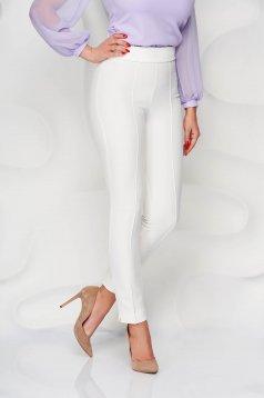 Fehér StarShinerS magas derekú zsebes kónikus irodai nadrág enyhén rugalmas anyagból