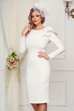 StarShinerS fehér ruha enyhén rugalmas szövetből alkalmi ceruza fodros