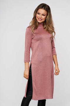 Púder rózsaszínű szűk szabású casual StarShinerS hosszú női blúz rugalmas anyagból