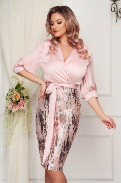 Pink StarShinerS vékony anyag midi ceruza ruha flitteres díszítéssel
