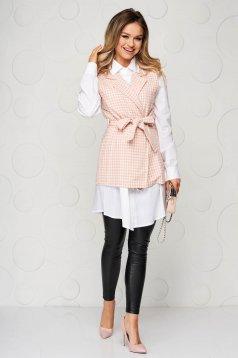Pink bő szabású casual kockás női ing övvel ellátva