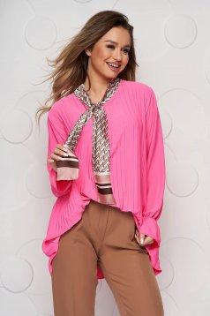 Női rozsaszin irodai bő szabásá blúz, rakott, pliszirozott kendő jellegü gallérral