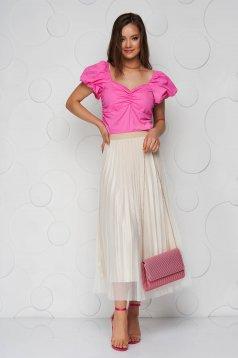 Krémszínű gumírozott derekú rakott, pliszírozott midi party tüllből szoknya szaténból