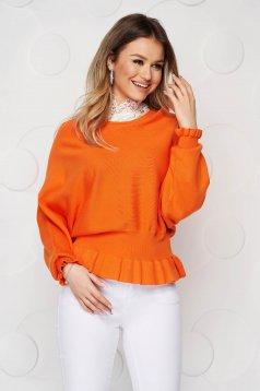 Narancssárga rugalmas és finom anyagból készült kötött fodros casual csíkozott anyag női blúz