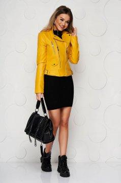 Sárga rövid casual műbőr dzseki cipzárral