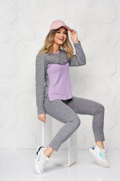 Szürke StarShinerS fodros női kosztüm rugalmatlan pamutból