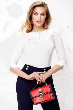 Fehér irodai fodros galléros szűkített női ing csipke díszítéssel