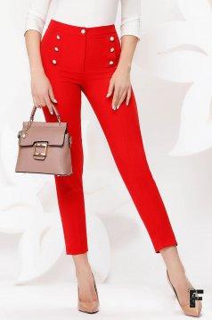 Piros irodai magas derekú kónikus nadrág enyhén rugalmas szövetből gomb kiegészítőkkel