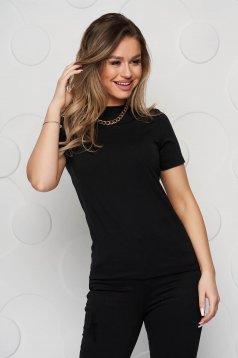 Fekete női pamut blúz rövid ujjakkal és magasitott nyakkal