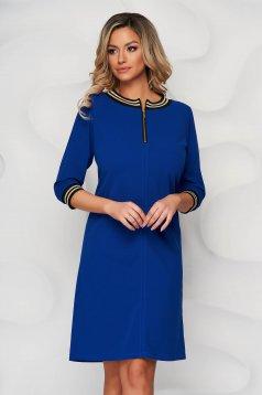 Kék StarShinerS a-vonalú ruha szövetből cipzárral van ellátva rövid elegáns