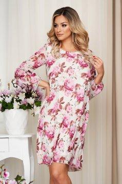 Világos lila elegáns rövid virágmintás ruha muszlinból hosszú ujjakkal és béléssel
