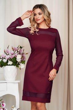 Egyenes burgundy irodai ruha rugalmatlan szövetből