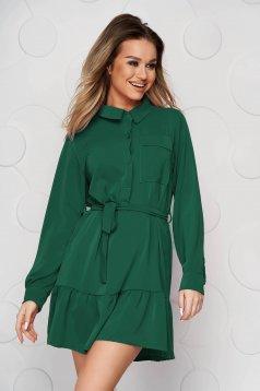 Zöld ruha harang fodrok a ruha alján enyhén rugalmas anyagból