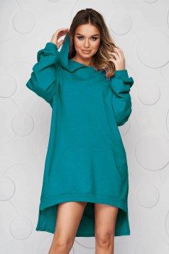 Zöld aszimetrikus ruha enyhén elasztikus pamutból bő szabású és oldalt felsliccelt