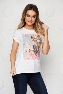 Rövid bő szabású rugalmas pamut világos rózsaszínű póló grafikai díszítéssel