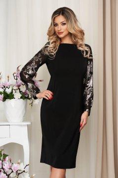 Fekete alkalmi egyenes midi ruha enyhén rugalmas anyagból csillogó díszítések