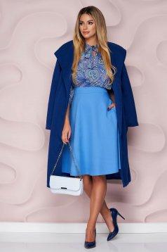 Kék StarShinerS midi elegáns magas derekú harang szoknya zsebekkel és bélés nélkül