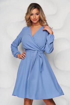Kék StarShinerS midi harang alakú ruha gumirozott derékrésszel és béléssel