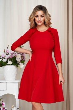 Piros StarShinerS irodai midi fodros harang ruha enyhén rugalmas szövetből