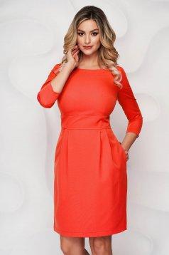 Narancssárga StarShinerS a-vonalú rövid zsebes ruha enyhén rugalmas szövetből