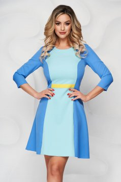 Kék StarShinerS a-vonalú rövid ruha szövetből kerekített dekoltázssal