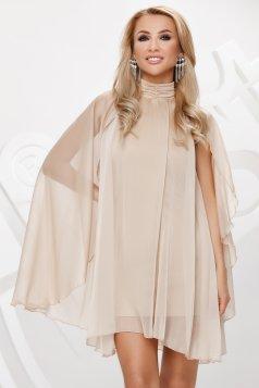 Krémszinű magas nyakú rövid alkalmi ruha muszlinból