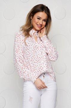 Fekete pöttyös bő szabású gumírozott ujjakkal női ing