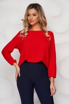 Piros StarShinerS bő szabású női blúz rugalmas anyagból kerekített dekoltázssal