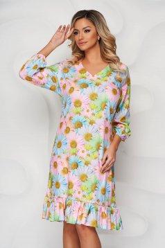 Világos rózsaszínű StarShinerS egyenes fodros virágmintás ruha
